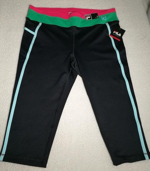 c7174ec0627d1 Fila Pants | Nwt Sport Colorblock Yoga Workout Capris Plus | Poshmark